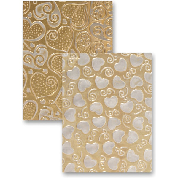 M-Bossabilities Reversible A4 Embossing Folder-Hearts