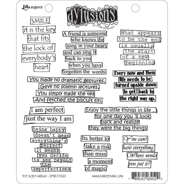 Dyan Reaveley's Dylusions Cling Stamp Collection-The Right Words