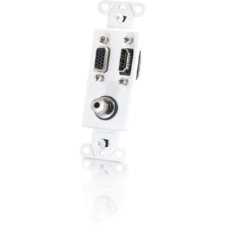 C2G HDMI, VGA and 3.5mm Audio Pass Through Decorative Style Wall Plat