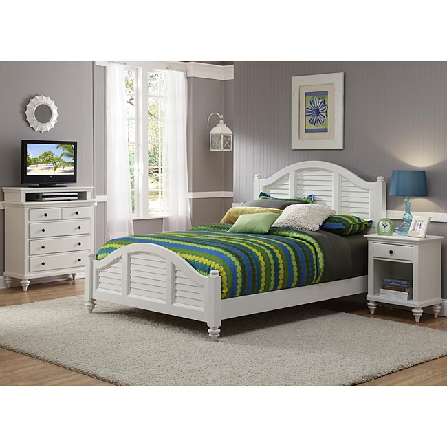 Bermuda Brushed White Queen-size Bed, Night Stand, and Media Chest Set by Home Styles