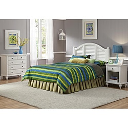 Home Styles Bermuda Brushed White Queen Headboard, Nightstand, and Chest Bedroom Set