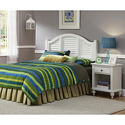 Home Styles Bermuda Headboard and Night Stand Brushed White Finish