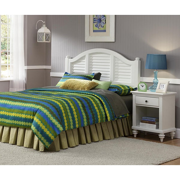 Bermuda Headboard and Night Stand Brushed White Finish by Home Styles