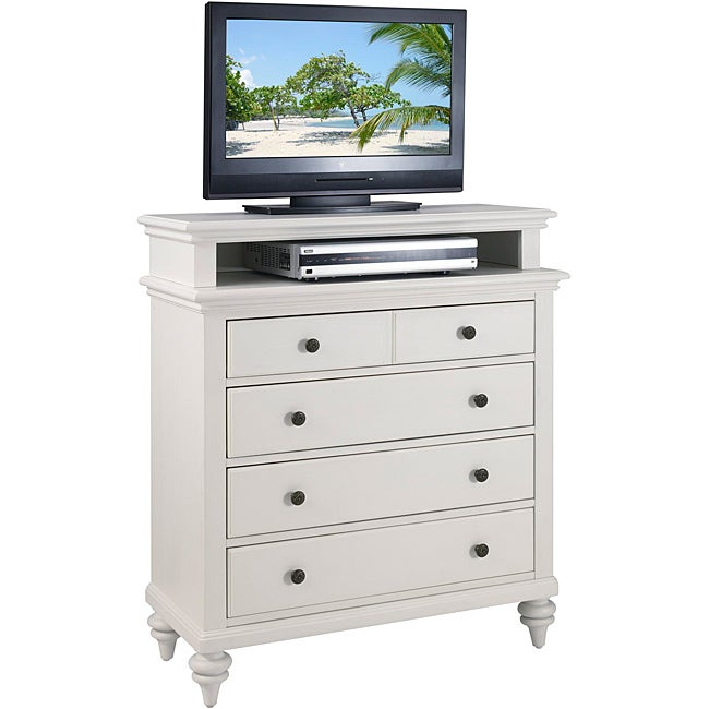Bermuda TV Media Chest Brushed White Finish by Home Styles
