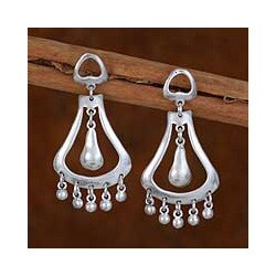 Handmade Sterling Silver 'Silver Jingles' Dangle Earrings (Mexico)
