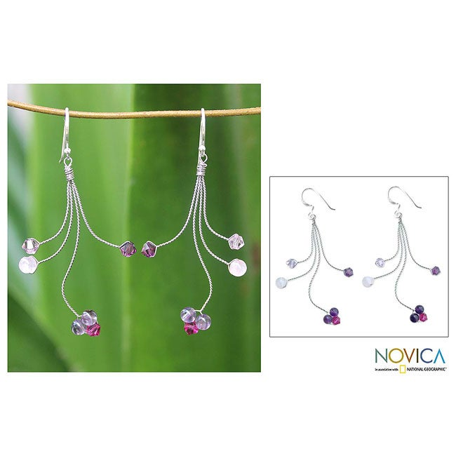 Handmade Sterling Silver 'Springtime' Amethyst Rose Quartz Earrings (Thailand)