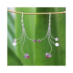 Handmade Sterling Silver 'Springtime' Amethyst Rose Quartz Earrings (Thailand)