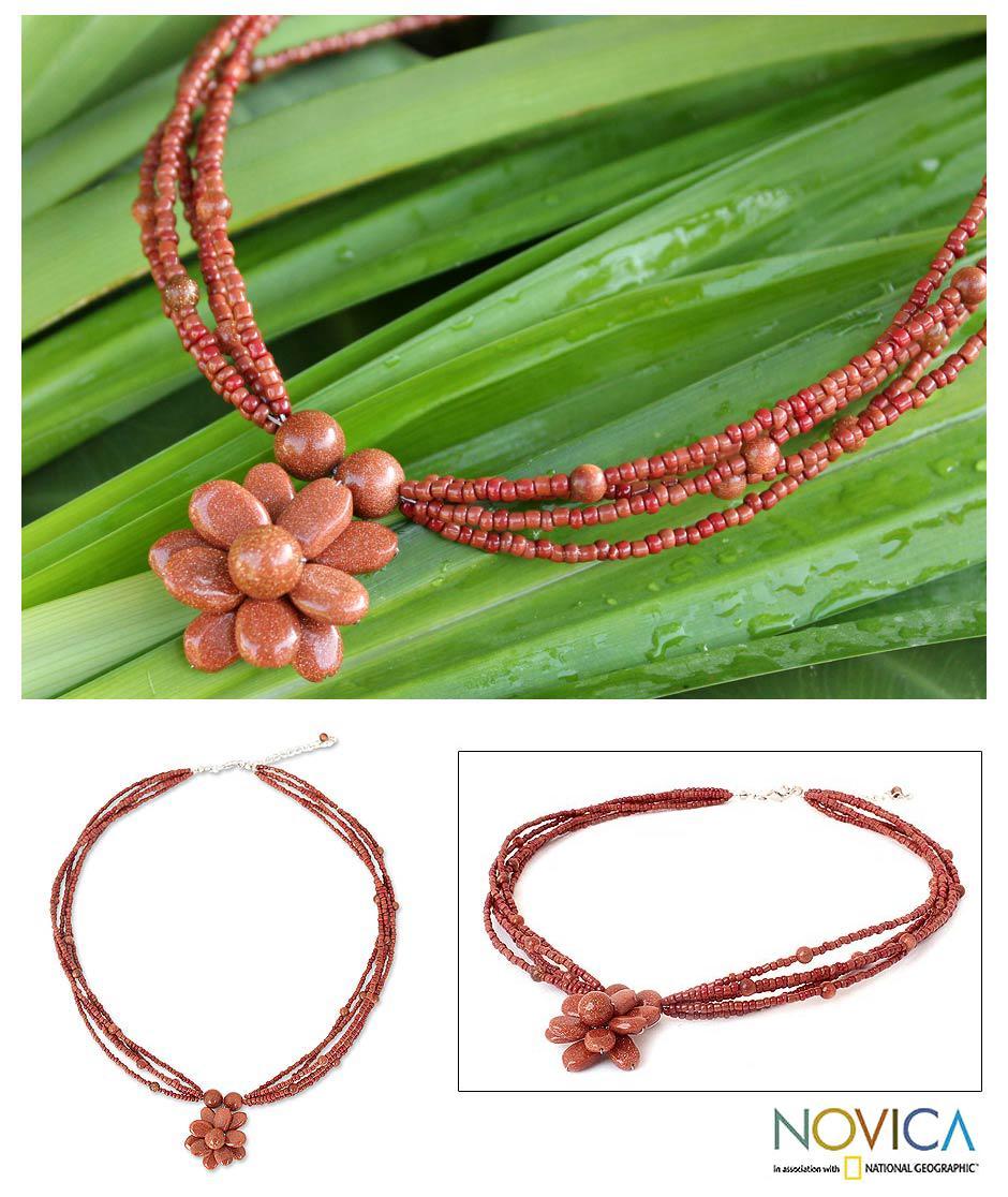 Handmade Beaded 'Cinnamon Paradise Flower' Necklace (Thailand)