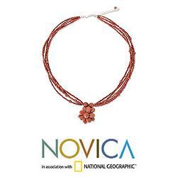 Handmade Beaded 'Cinnamon Paradise Flower' Necklace (Thailand) - Thumbnail 1