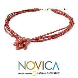 Handmade Beaded 'Cinnamon Paradise Flower' Necklace (Thailand) - Thumbnail 2