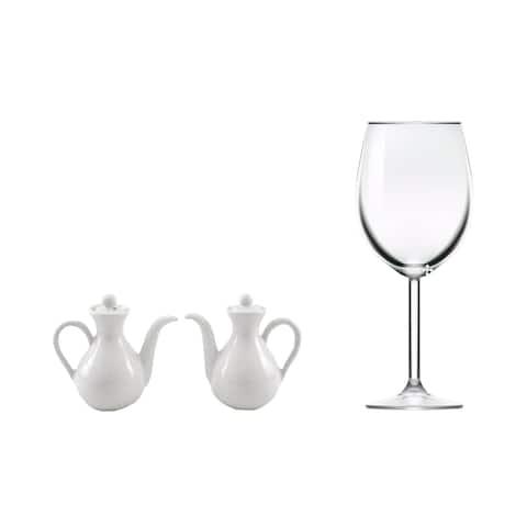 Handmade Set of 2 Ceramic 'Minimal White' Oil and Vinegar Pitchers (Indonesia)
