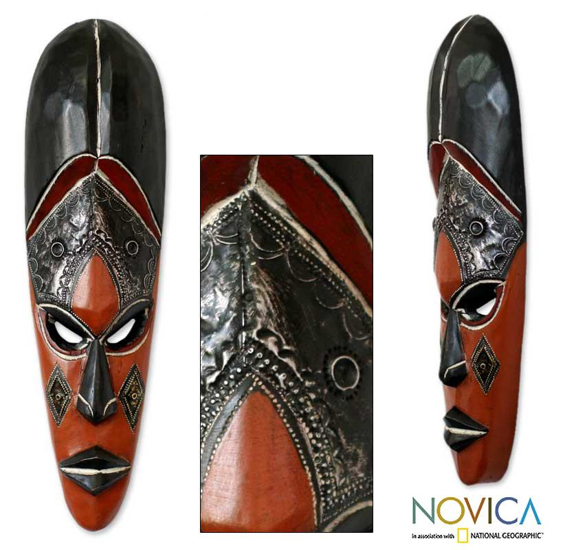 Sese Wood and Aluminum 'Disguise' Congolese African Mask (Ghana) - Thumbnail 0