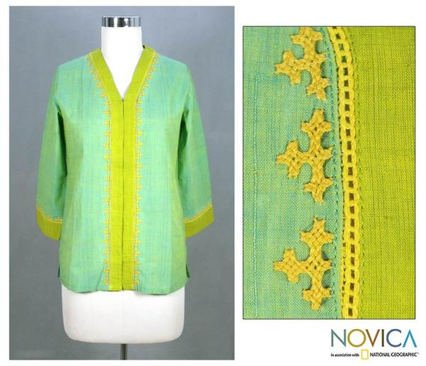 Cotton 'Refreshing Kutch Coors' Tunic Blouse (India)