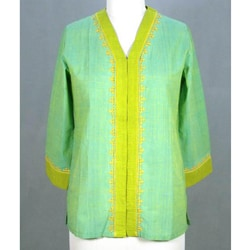 Handmade Cotton 'Refreshing Kutch Coors' Tunic Blouse (India)