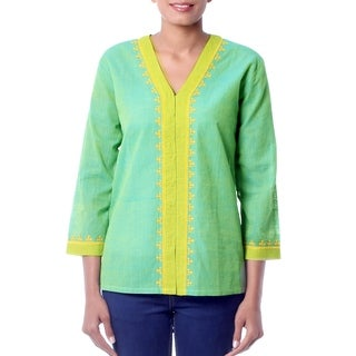 Handmade Cotton 'Refreshing Kutch Coors' Tunic Blouse (India)