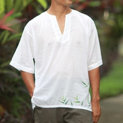 Handmade Men's Cotton 'Bamboo Jungle' Shirt (Indonesia)