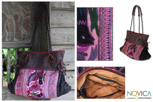 Cotton and Leather 'Hmong Paradise' Large Shoulder Bag (Thailand)
