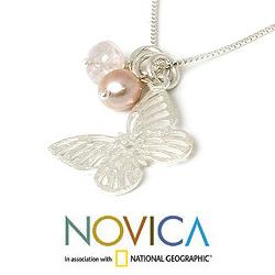 Handmade Silver 'Butterfly Moons' Rose Quartz Pearls Necklace (Thailand)