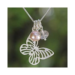 Silver 'Butterfly Moons' Rose Quartz Pearls Necklace (Thailand)
