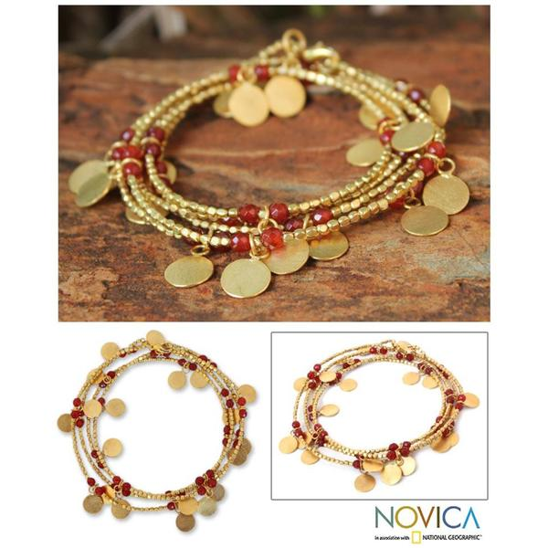 Handmade Gold Overlay 'Orange Suns' Wrap Bracelet (Thailand)