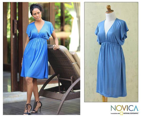 Rayon Jersey 'Blue Denpassar Chic' Dress (Indonesia)