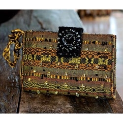 Handmade Rayon 'Atitlan Canary' Medium Beaded Shoulder Bag (Guatemala)