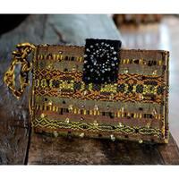 Handmade Rayon 'Atitlan Canary' Medium Beaded Shoulder Bag (Guatemala)