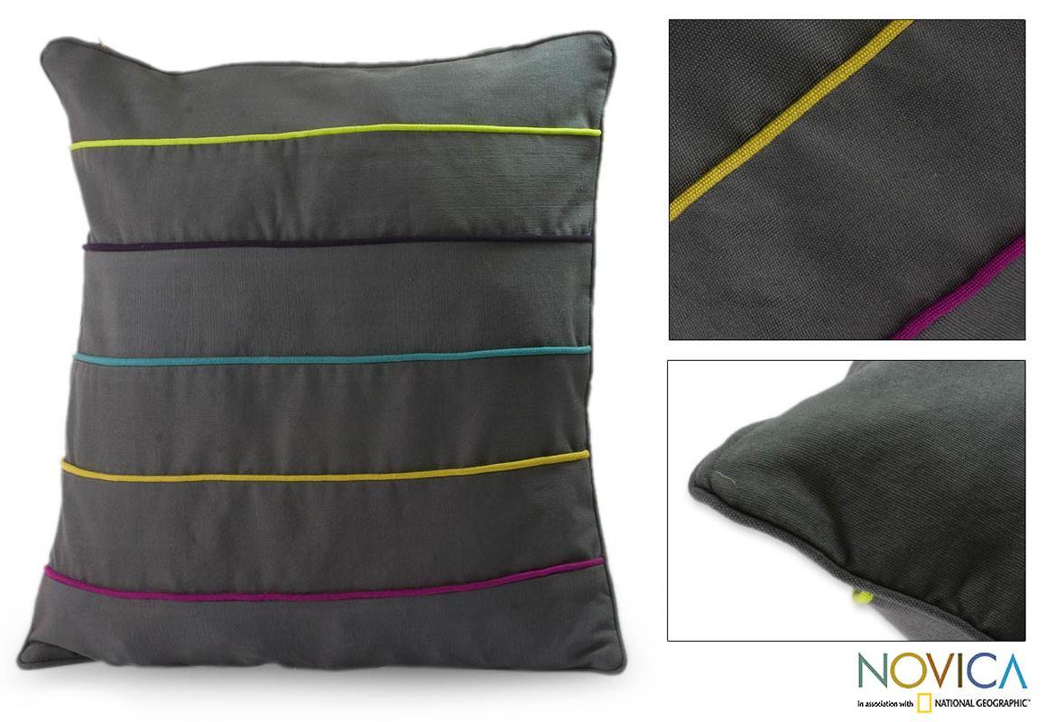 Handcrafted Cotton 'Urban Rainbow' Cushion Cover (Guatemala)