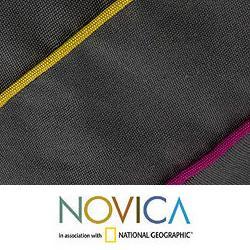 Handcrafted Cotton 'Urban Rainbow' Cushion Cover (Guatemala) - Thumbnail 2