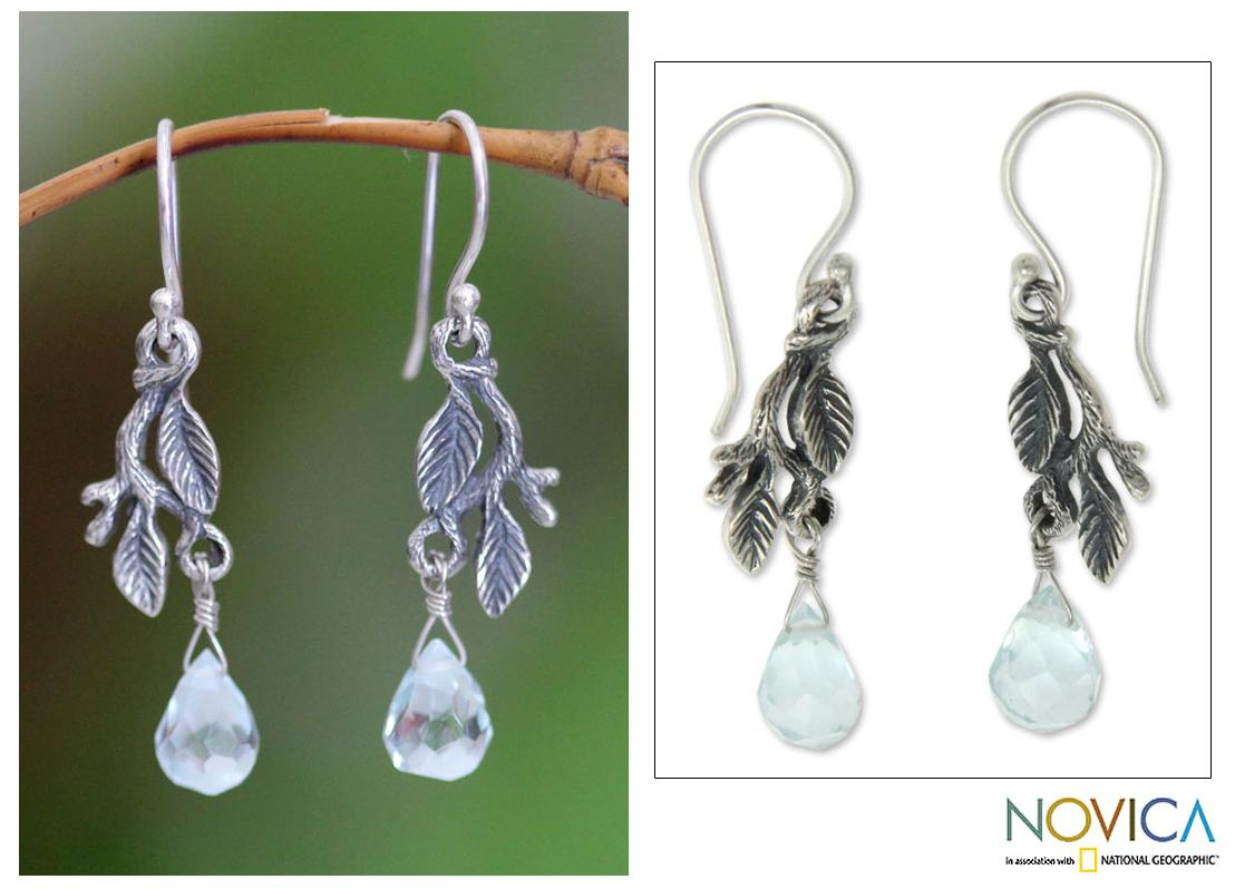 Sterling Silver 'Blue Rainforest' Earrings (Indonesia)
