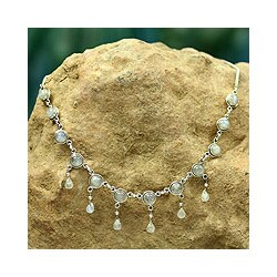 Handmade Sterling Silver 'Shimmer' Moonstone Waterfall Necklace (India)
