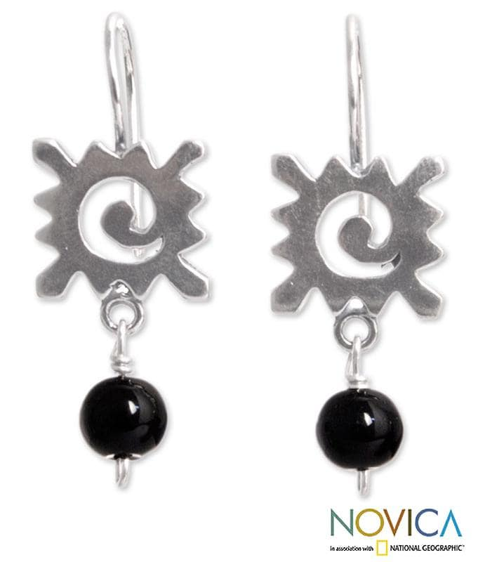 Sterling Silver 'Sunny Protection' Onyx Dangle Earrings (Mexico)