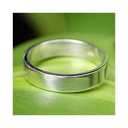 Handmade Men's Sterling Silver 'Trust the Moon' Ring (Thailand)