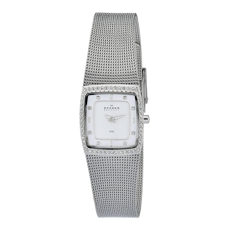 Skagen Women's Stainless Steel Glitz Watch with White Dial