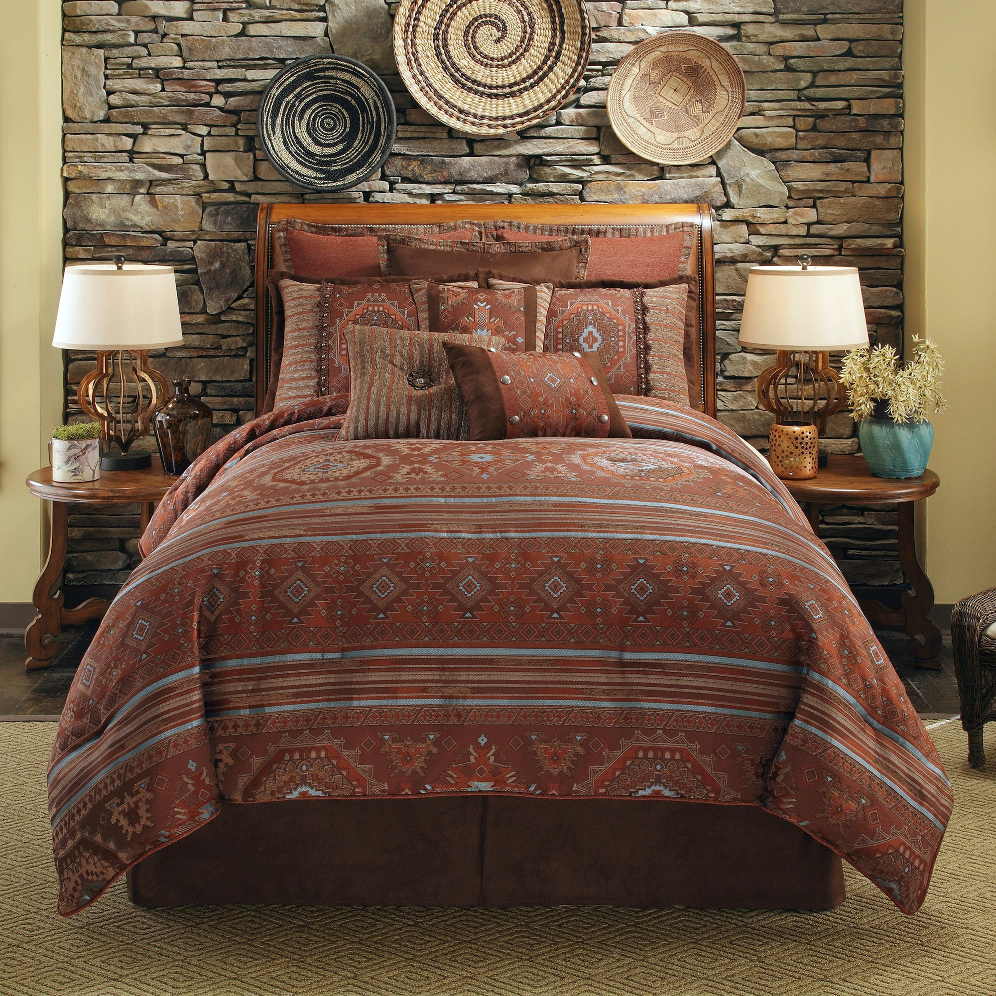 decoration bed sheets and set rust blue brown bedding cheap comforter colored sets