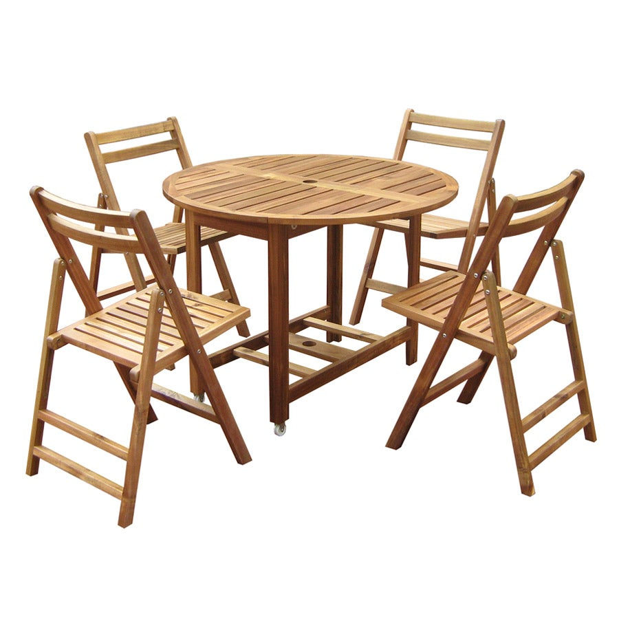 Round 5 piece outdoor folding table set free shipping for Outdoor table set