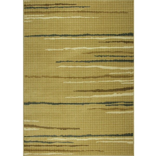 Somette Floating Lines Woven Beige Rug (5' x 7')