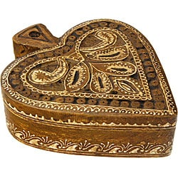 Hand Carved Wooden Heart Leaf Tea Light Holder (India)