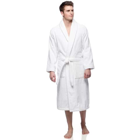 Classic Shawl Collar 400GSM White Turkish Cotton Towel Terry Unisex Bath Robe with 2 Pockets