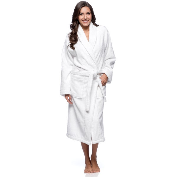 Salbakos Bright White Shawl Collar Turkish Combed Cotton Terry Bath Robe
