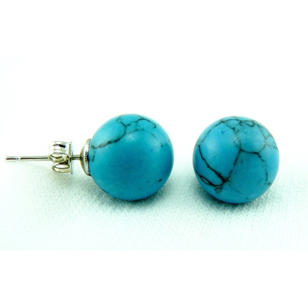 Pretty Little Style Silver-plated Synthetic-turquoise Stud Earrings