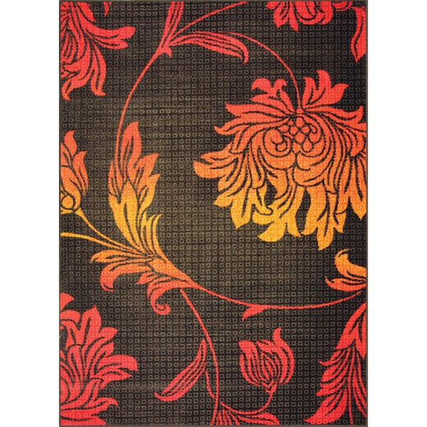 Somette Flora Botanica Woven Red Rug (5' x 7')