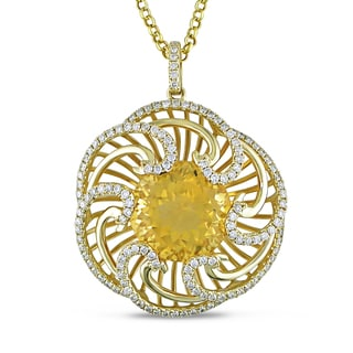 Miadora Signature Collection 14k Yellow Gold 10ct TGW Citrine and 1ct TDW Flower Pendant (G-H, SI1)