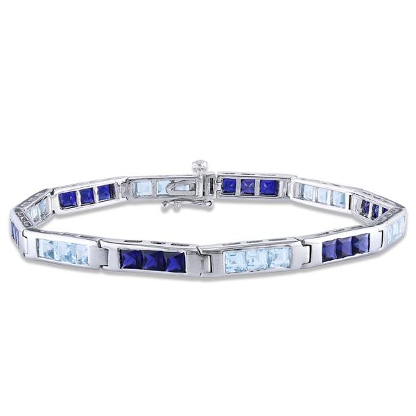 Miadora Sterling Silver 9 CT TGW Amethyst Bracelet (7.25-inch)