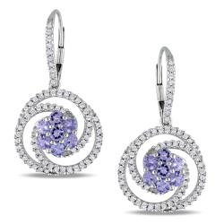 Miadora Signature Collection 14k White Gold 1-1/4ct TGW Tanzanite and 3/4ct TDW Earrings (G-H, SI1)