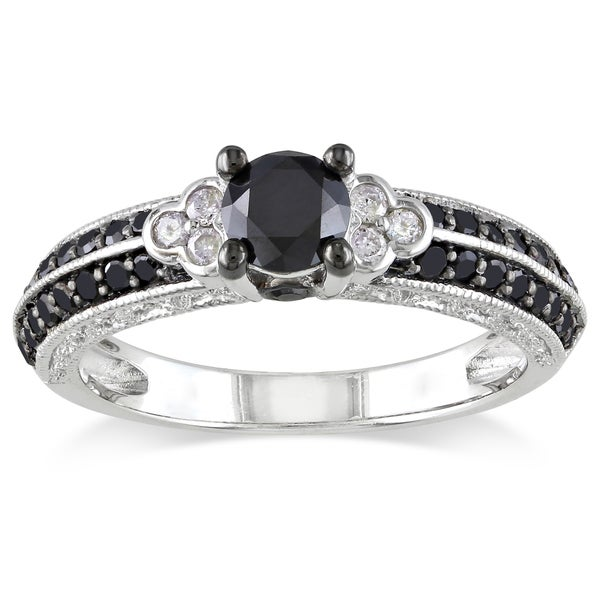 Miadora Milgrain-finished Sterling Silver 1ct TDW Black and White Diamond Ring