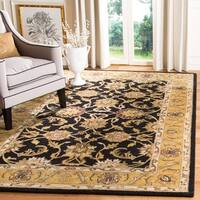 "Safavieh Handmade Traditions Black/ Light Brown Wool Rug - 9'6"" x 13'6"""