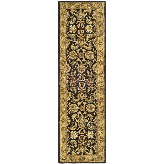 Safavieh Handmade Traditions Black/ Light Brown Wool Runner Rug - 2'3 x 10'