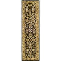 Safavieh Handmade Traditions Black/ Light Brown Wool Runner (2'3 x 12')