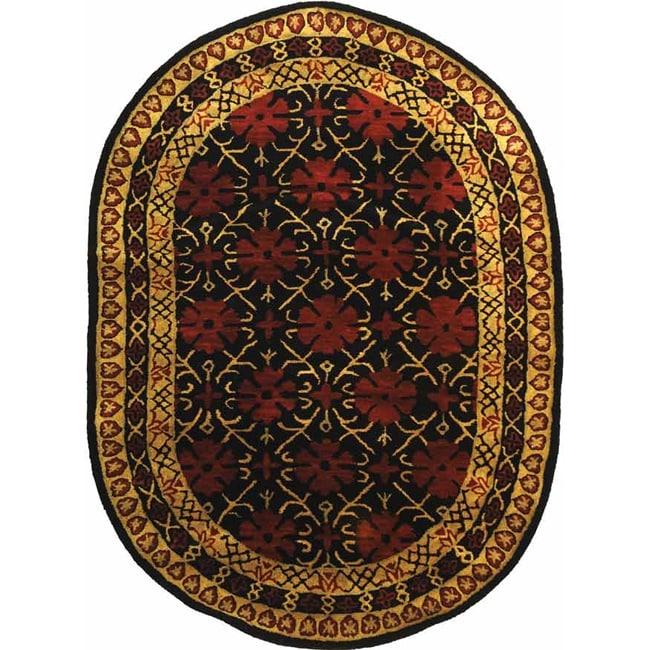 "Safavieh Handmade Classic Agra Maroon Wool Rug - 7'6"" x 9'6"" oval"